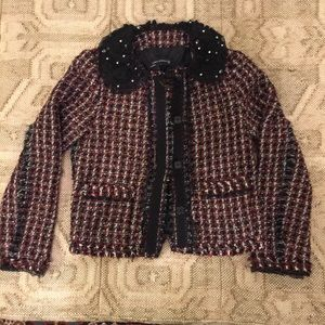 Zara woman red fantasy tweed blazer